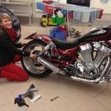 Motorrad während der Aufbereitung